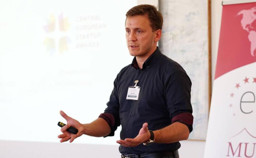 Marko Rant of InvoiceExchange (Slovenia), winners of Best Presentation - pitching to angel investors