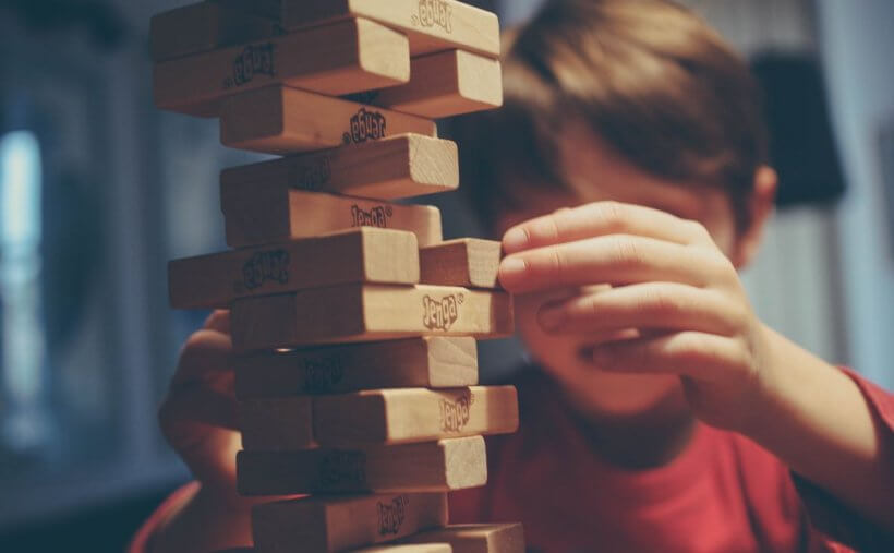 Jenga game crumbles to pieces