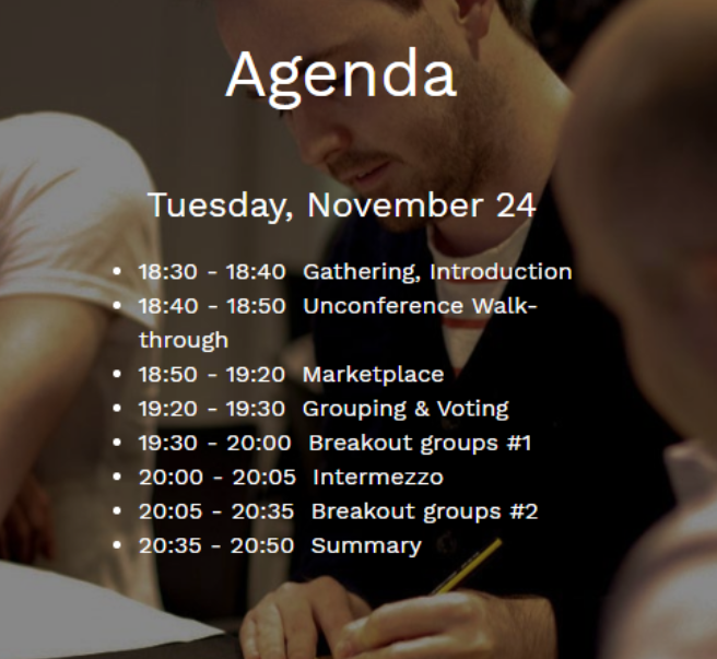 The agenda of the Unconference available on Mural